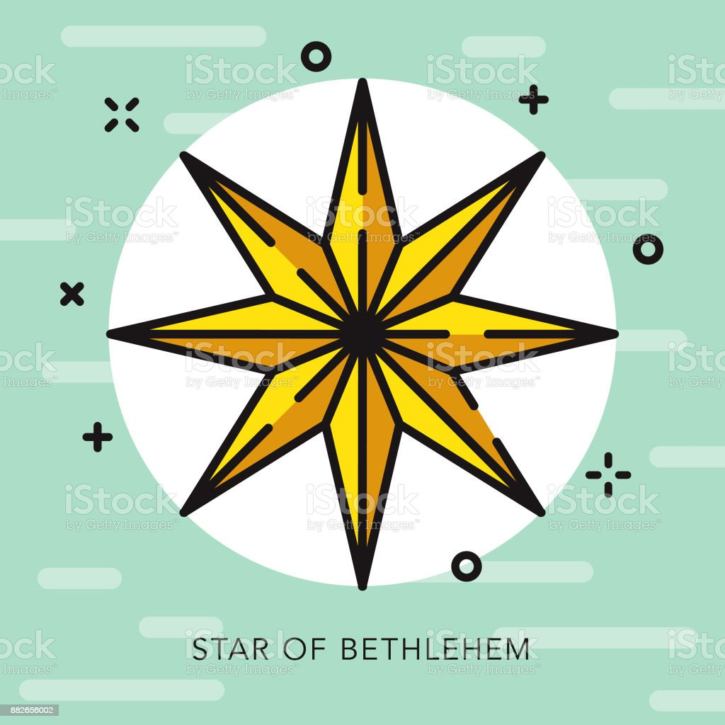 Star Of Bethlehem Open Outline Christmas Icon Royalty Free
