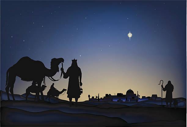 Star of Bethlehem Star of Bethlehem, shepherds and wisemen. nativity silhouette stock illustrations