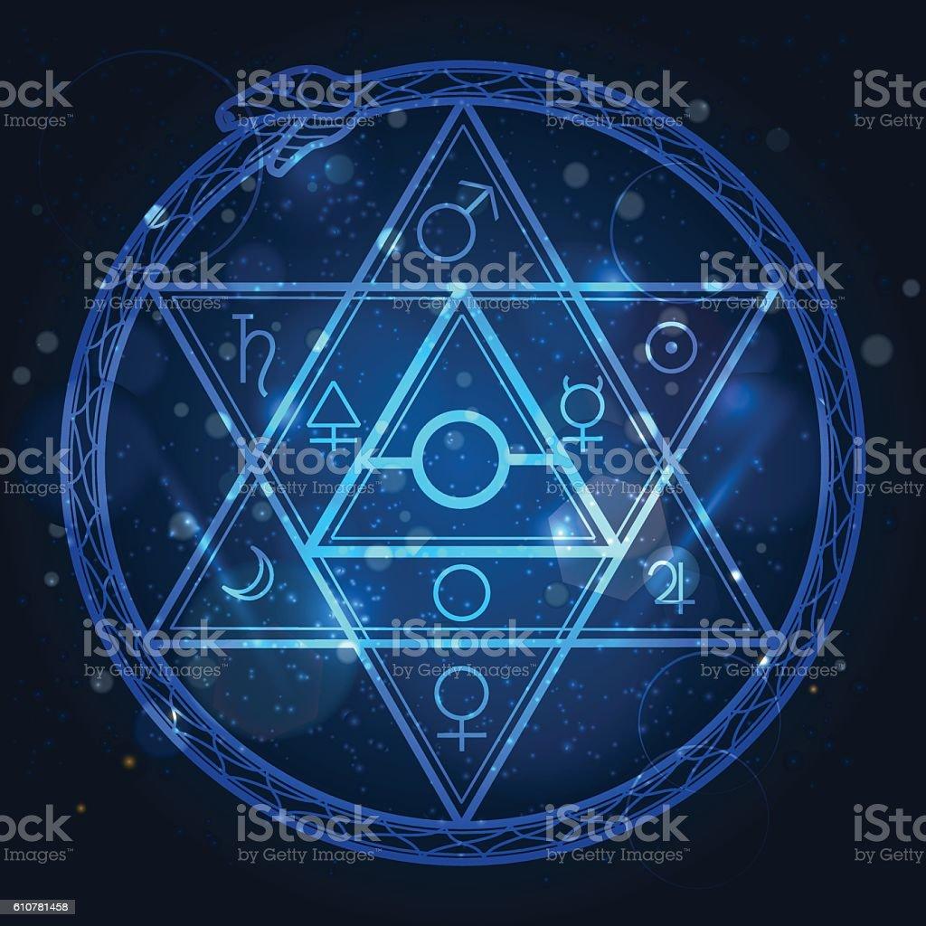 Star of David and uroboros sign vector art illustration