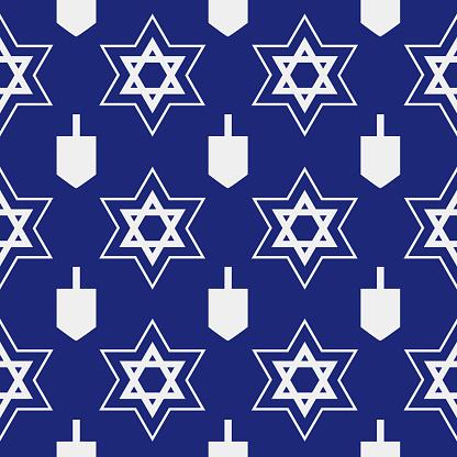 Star Of David Dreidel Seamless Pattern