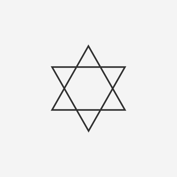 Star of david flat black outline design icon vector art illustration