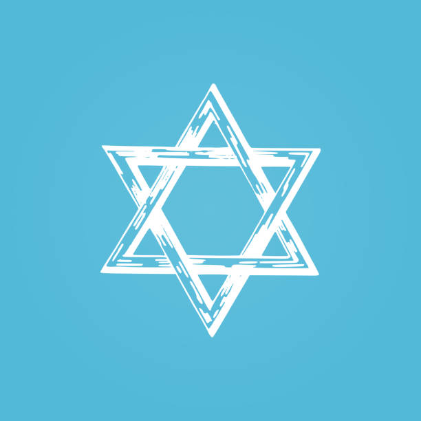 Star of David, hand drawn illustration. Judaic religion symbol in vector Star of David, hand drawn illustration. Judaic religion symbol in vector. star of david stock illustrations