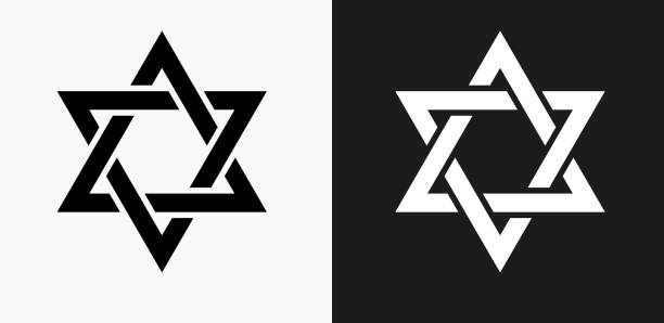 Star of David Icon on Black and White Vector Backgrounds Star of David Icon on Black and White Vector Backgrounds. This vector illustration includes two variations of the icon one in black on a light background on the left and another version in white on a dark background positioned on the right. The vector icon is simple yet elegant and can be used in a variety of ways including website or mobile application icon. This royalty free image is 100% vector based and all design elements can be scaled to any size. star of david stock illustrations