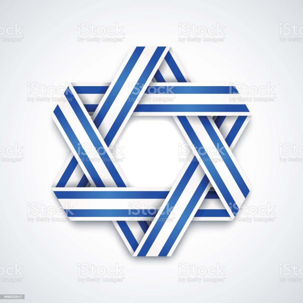 Star of David made of interlaced ribbon with Israel flag stripes. Vector illustration. vector art illustration