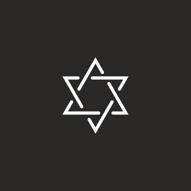 Star of David monogram icon, hexagram of thin line as a Jewish symbol Star of David monogram icon, hexagram of thin line as a Jewish symbol star of david stock illustrations