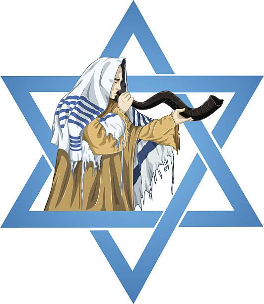 Star Of David Rabbi With Talit Blows The Shofar vector art illustration