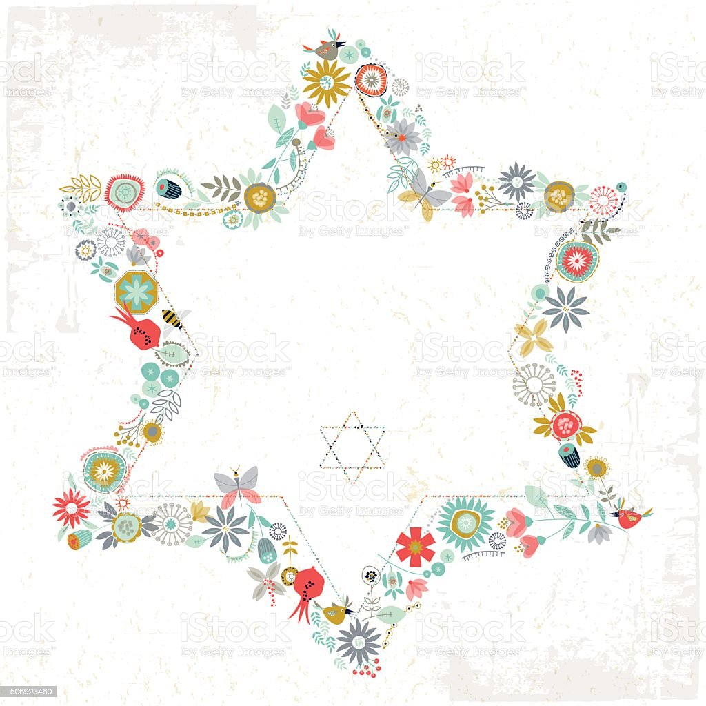 Star of David shaped floral ornament. Greeting Card. Template. vector art illustration