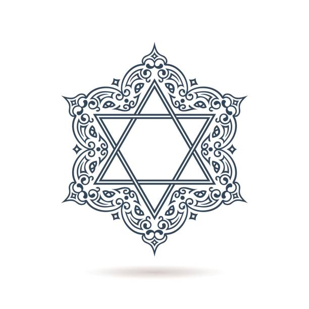 Star of David. Vector Jewish ornament. Blue icon on white background Star of David. Vector Jewish ornament. Blue icon on white background with shadow. Hexagonal emblem with oriental traditional black decor star of david stock illustrations