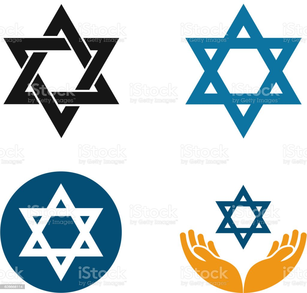 Star of David vector logo. Judaism or Jewish set icons - Royalty-free Eternity stock vector