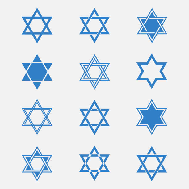 Star of David vector set Star of David vector set isolated from the background. Blue Jewish Star in flat style. Abstract icons Magen David or David Shield. Solomon Seal signs. star of david stock illustrations