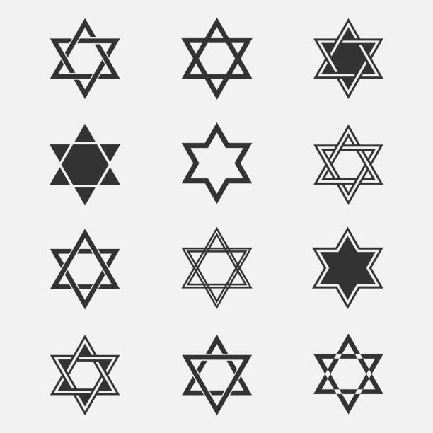 Star of David vector set Star of David vector set. Collection of Jewish stars isolated from the background. Star of David symbol. Icons Magen David in a flat style. Are different Black Star of David symbol. star of david stock illustrations