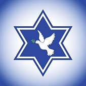 Star of David with the dove of peace, the symbol of Israel. Pigeon of the world with a green twig