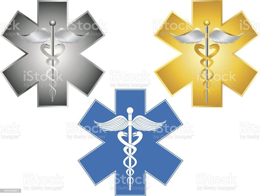 Star of Life Caduceus Medical Symbol Vector Illustration vector art illustration