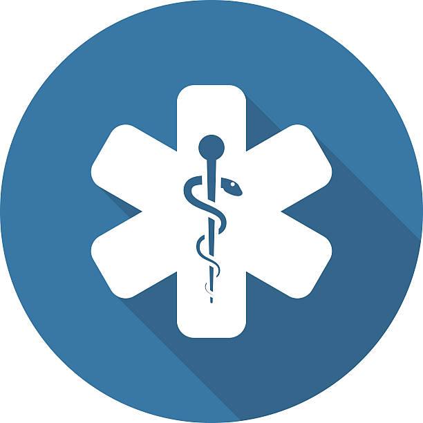 ilustraciones, imágenes clip art, dibujos animados e iconos de stock de icono de estrella de vida. diseño plano. - técnico en urgencias médicas