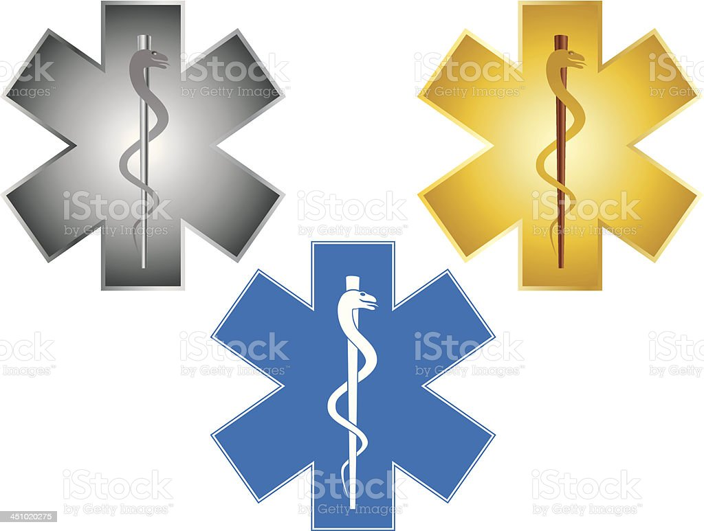 Star of Life Rod Asclepius Vector Illustration vector art illustration