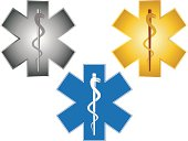 Star of Life Rod Asclepius Vector Illustration
