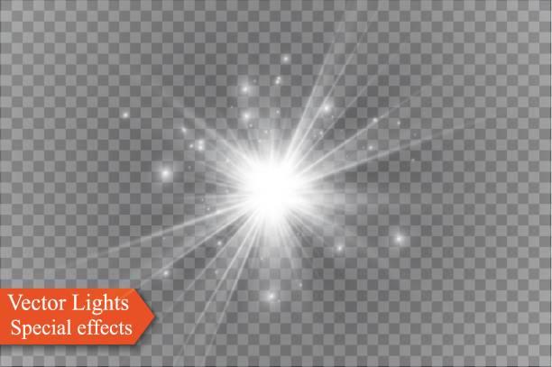 투명 한 배경, 조명 효과에 스타 벡터 일러스트 레이 션. 반짝과 버스트 - 밝은 빛 stock illustrations