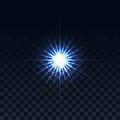 Star on a transparent background.Vector glowing effect.Abstract image of lighting flare.A blue highlight
