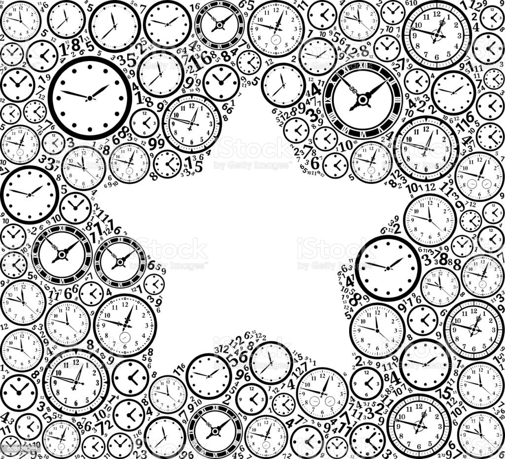 Star On Time And Clock Vector Icon Pattern Vektor Illustration ...