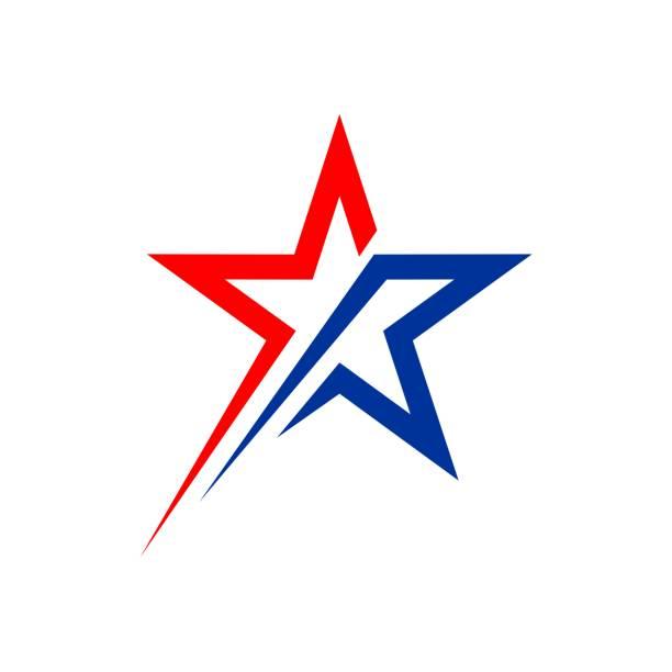 star patriotyczne logo wektor szablon ilustracja projekt. wektor eps 10. - kształt gwiazdy stock illustrations