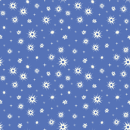 Star pattern design. Cute vector seamless repeat of a starry night sky.