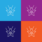 star prize winner outline icon. Elements of independence day illustration icon on colored background