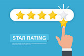 Star Rating. Businessman hand giving five star rating. Five stars customer product rating review flat icon. Feedback concept
