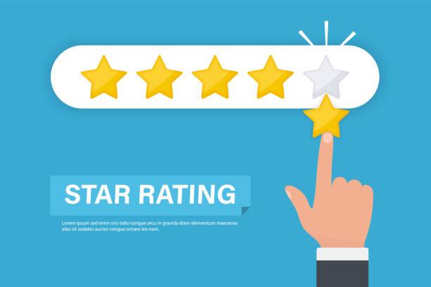 스타 등급입니다. 5 개의 별 등급을 주는 사업 손. 5 개의 별 고객 제품 등급 검토 플랫 아이콘입니다. 피드백 개념 - evaluation stock illustrations