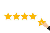 Star rating. Holding a gold star, to give five. Feedback concept. Evaluation system. Positive review. Vector stock illustration flat design. Isolated on white background. Quality work.