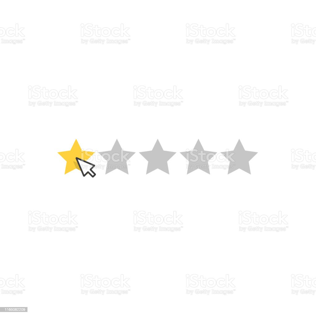 Star rating on white background. Puts star rating click. Vector...