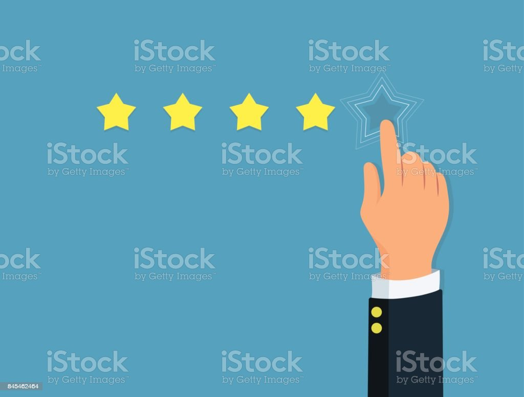 Star rating. Person's hand give a five star. Positive review. Concept feedback and evaluation system.