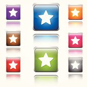 Star Ratings Round Corner Glossy Vector Web Icon Button Set