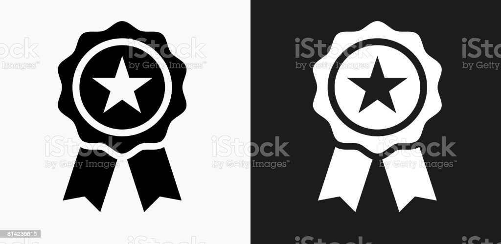 Star Ribbon Icon on Black and White Vector Backgrounds vector art illustration