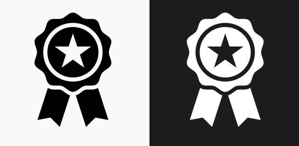 Star Ribbon Icon on Black and White Vector Backgrounds Star Ribbon Icon on Black and White Vector Backgrounds. This vector illustration includes two variations of the icon one in black on a light background on the left and another version in white on a dark background positioned on the right. The vector icon is simple yet elegant and can be used in a variety of ways including website or mobile application icon. This royalty free image is 100% vector based and all design elements can be scaled to any size. incentive stock illustrations