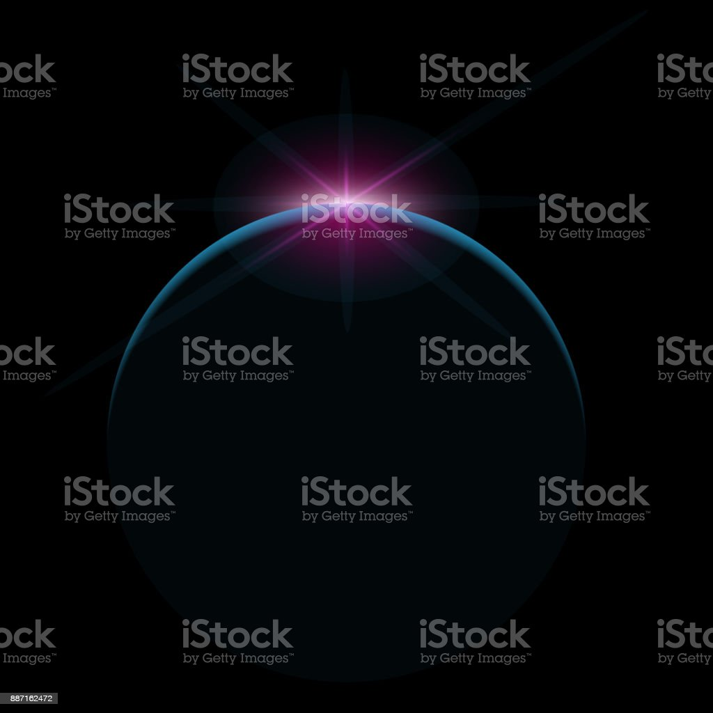 Star rise over planet in space vector art illustration