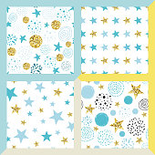Star seamless pattern set Hand drawn cute seamless bright glittering gold background with blue Baby shower birthday party invitation decorative wallpaper Abstract textile design Vector illustration.