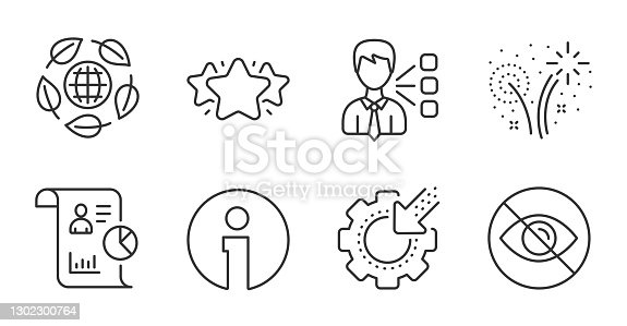 istock Star, Seo gear and Third party icons set. Not looking, Report and Fireworks signs. Eco organic, Info symbols. Vector 1302300764