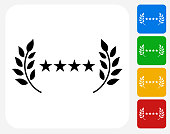 5 Star Service Icon. This 100% royalty free vector illustration features the main icon pictured in black inside a white square. The alternative color options in blue, green, yellow and red are on the right of the icon and are arranged in a vertical column.