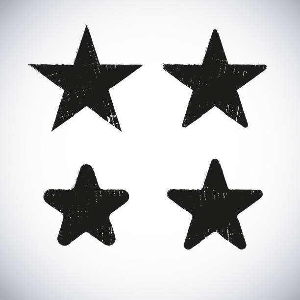 ilustrações, clipart, desenhos animados e ícones de design de rótulo grunge forma de estrela - exposto ao tempo