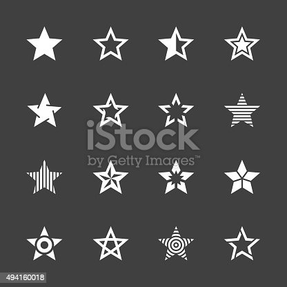 Star Shape Icons White Series Vector EPS File.