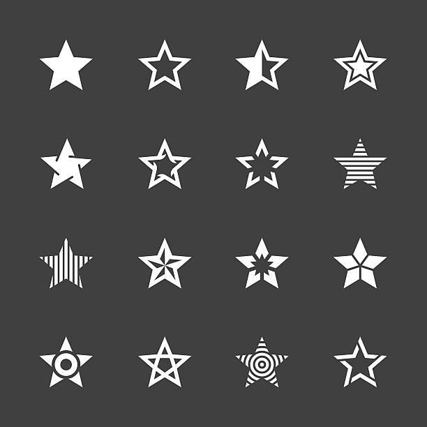 ilustraciones, imágenes clip art, dibujos animados e iconos de stock de forma de estrella serie iconos-blanco - forma de estrella