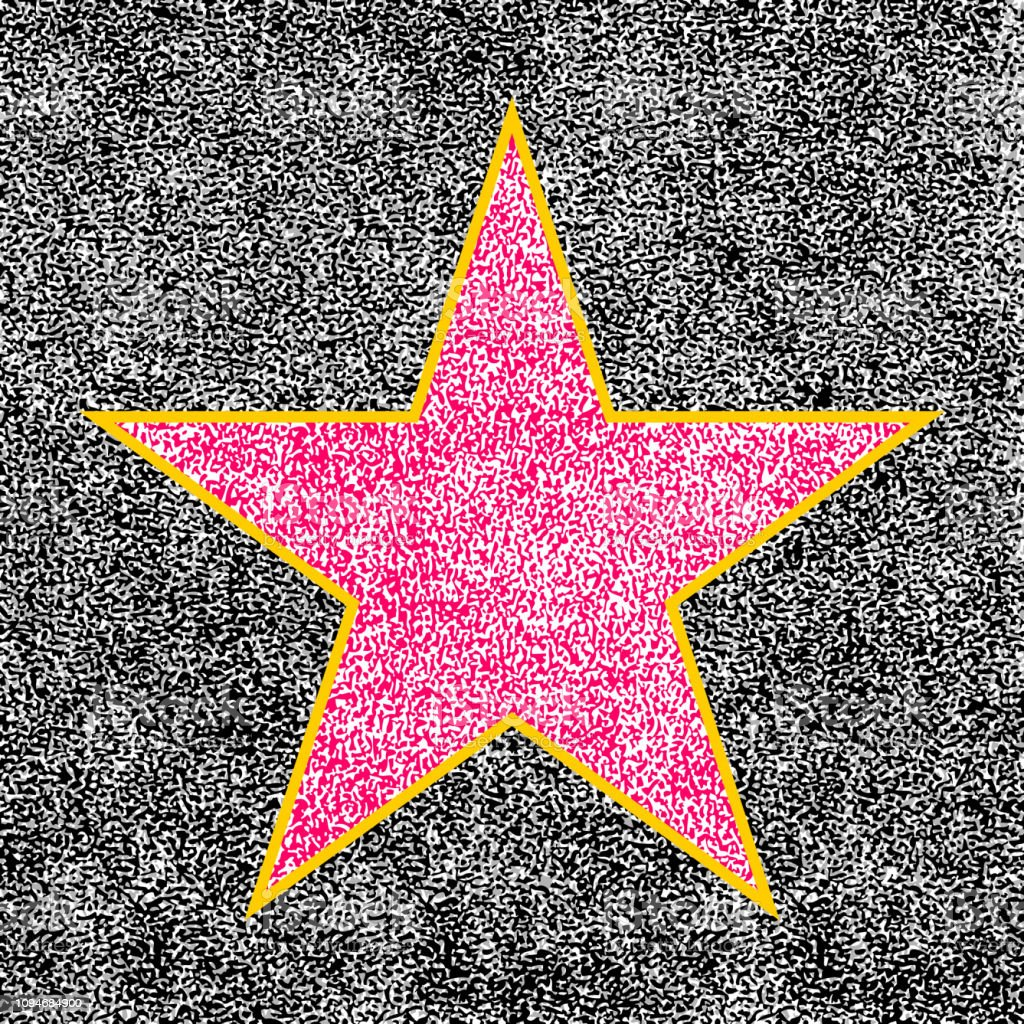 Star shape imitating a five-pointed terrazzo and brass star symbol