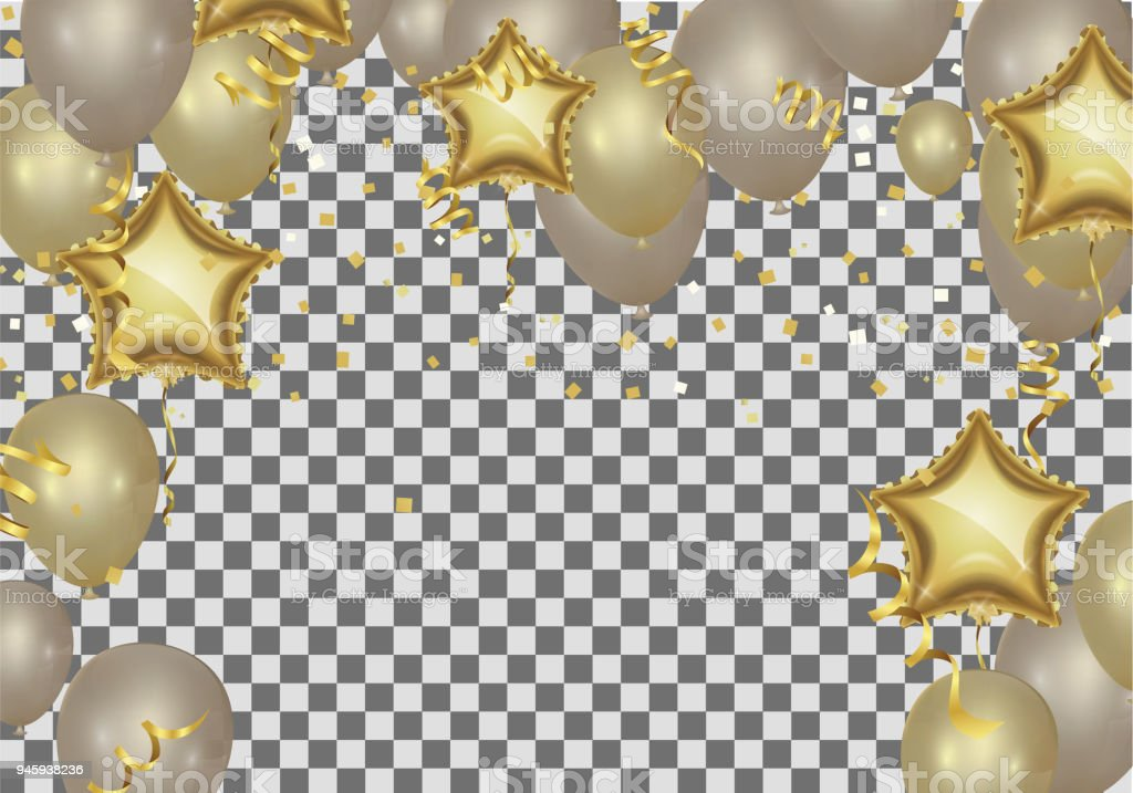 Star Shaped Balloons Birthday Greeting Golden Shop Now Background With Silver Rose Gold And