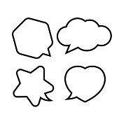 star shaped speech bubble, heart shaped speech bubble, hexagon speech bubble, cloud speech bubble, geometry balloon black isolated on white for copy space