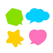 star shaped speech bubble yellow, heart shaped speech bubble pink, hexagon speech bubble green, cloud speech bubble blue, geometry balloon colorful and isolated on white for copy space