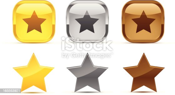 gold, silver and bronze icons (star shape)