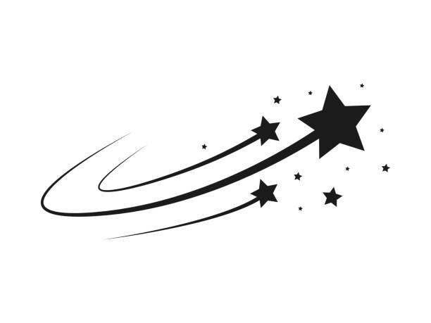 Sternensilhouette des Sturzes von Kometen, Meteoriten, Asteroiden, die Funken von Feuerwerkskörpern. Vektor-Gestaltungselemente isoliert auf hellem Hintergrund – Vektorgrafik