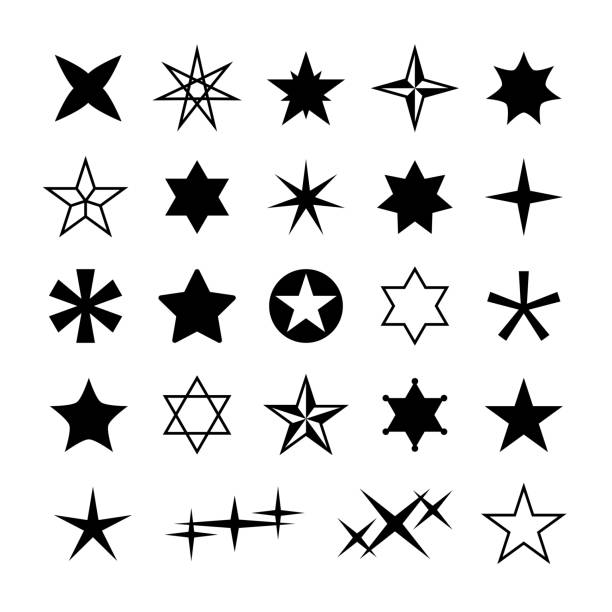 illustrazioni stock, clip art, cartoni animati e icone di tendenza di star silhouettes. rising christmas stars, abstract geometric cosmos starry symbols. different reward, rating vector isolated shapes - stelle