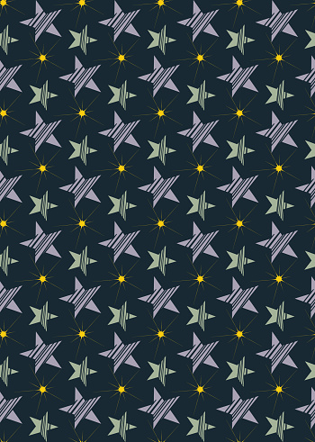 Star space seamless pattern. Creative shapes with stripes in grey, blue. Geometrical cute decorative backround