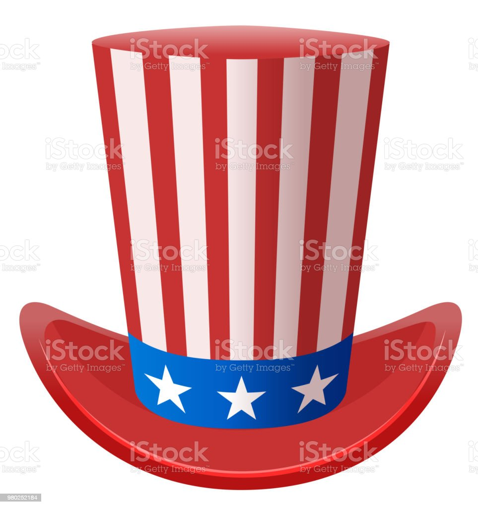 Star Striped Uncle Sam Hat Symbol United States Of America Stock
